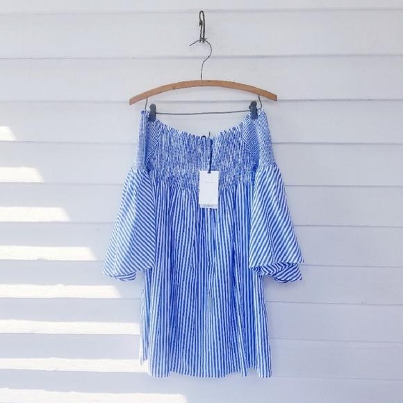 8a6aebe8d4 NWT Zara Woman Striped Mini Off Shoulder Dress